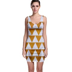 Triangle2 White Marble & Yellow Grunge Bodycon Dress