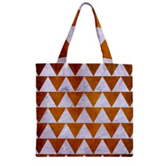 Triangle2 White Marble & Yellow Grunge Zipper Grocery Tote Bag