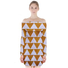 Triangle2 White Marble & Yellow Grunge Long Sleeve Off Shoulder Dress