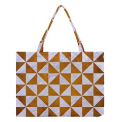 Triangle1 White Marble & Yellow Grunge Medium Tote Bag by trendistuff