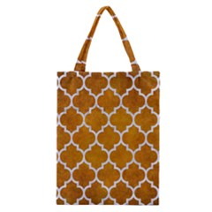 Tile1 White Marble & Yellow Grunge Classic Tote Bag by trendistuff