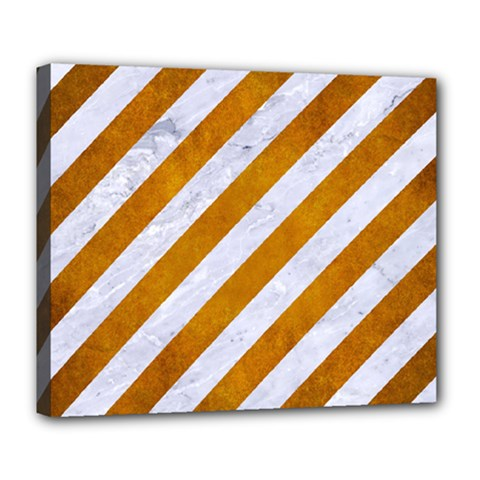 Stripes3 White Marble & Yellow Grunge (r) Deluxe Canvas 24  X 20   by trendistuff