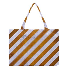 Stripes3 White Marble & Yellow Grunge (r) Medium Tote Bag by trendistuff