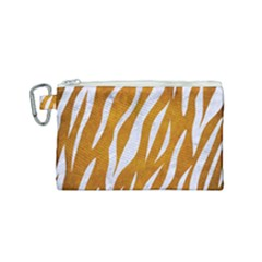 Skin3 White Marble & Yellow Grunge Canvas Cosmetic Bag (small) by trendistuff