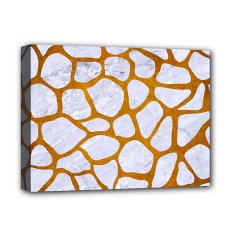 Skin1 White Marble & Yellow Grunge Deluxe Canvas 16  X 12   by trendistuff