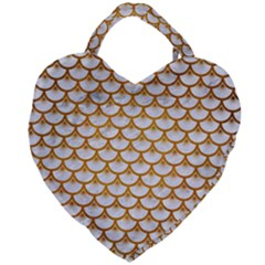 Scales3 White Marble & Yellow Grunge (r) Giant Heart Shaped Tote by trendistuff