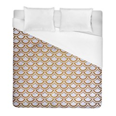 Scales2 White Marble & Yellow Grunge (r) Duvet Cover (full/ Double Size) by trendistuff