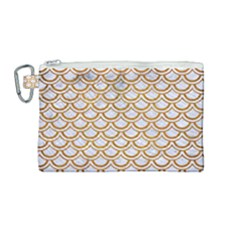 Scales2 White Marble & Yellow Grunge (r) Canvas Cosmetic Bag (medium) by trendistuff