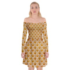 Scales2 White Marble & Yellow Grunge Off Shoulder Skater Dress