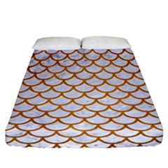 Scales1 White Marble & Yellow Grunge (r) Fitted Sheet (california King Size) by trendistuff