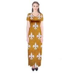 Royal1 White Marble & Yellow Grunge (r) Short Sleeve Maxi Dress