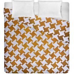 Houndstooth2 White Marble & Yellow Grunge Duvet Cover Double Side (king Size) by trendistuff