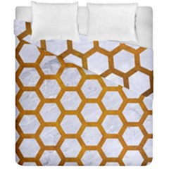 Hexagon2 White Marble & Yellow Grunge (r) Duvet Cover Double Side (california King Size) by trendistuff