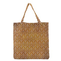 Hexagon1 White Marble & Yellow Grunge Grocery Tote Bag by trendistuff