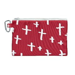 Red White Cross Canvas Cosmetic Bag (large) by snowwhitegirl