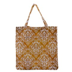 Damask1 White Marble & Yellow Grunge Grocery Tote Bag by trendistuff