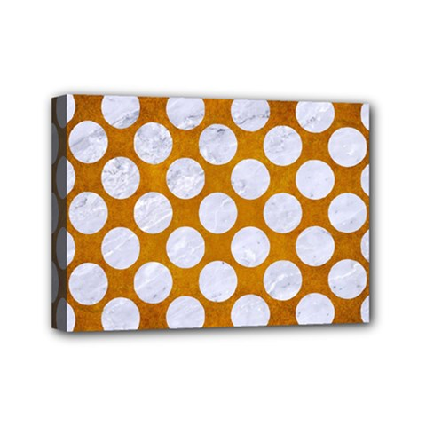 Circles2 White Marble & Yellow Grungecircles2 White Marble & Yellow Grunge Mini Canvas 7  X 5  by trendistuff