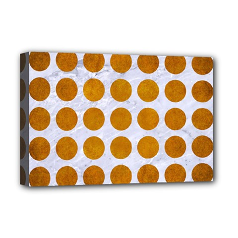 Circles1 White Marble & Yellow Grunge (r) Deluxe Canvas 18  X 12   by trendistuff