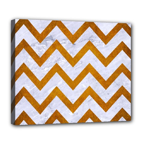 Chevron9 White Marble & Yellow Grunge (r) Deluxe Canvas 24  X 20   by trendistuff