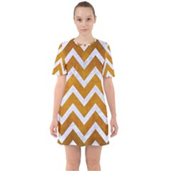 Chevron9 White Marble & Yellow Grunge Sixties Short Sleeve Mini Dress