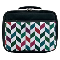 Zigzag Chevron Pattern Green Red Lunch Bag by snowwhitegirl