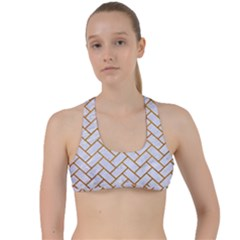 Brick2 White Marble & Yellow Grunge (r) Criss Cross Racerback Sports Bra