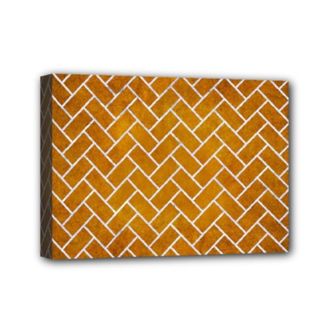Brick2 White Marble & Yellow Grunge Mini Canvas 7  X 5  by trendistuff