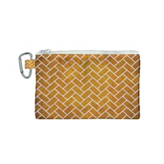 Brick2 White Marble & Yellow Grunge Canvas Cosmetic Bag (small) by trendistuff