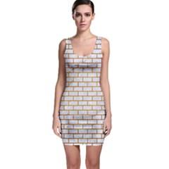 Brick1 White Marble & Yellow Grunge (r) Bodycon Dress