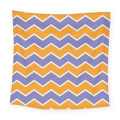 Zigzag Chevron Pattern Blue Orange Square Tapestry (large)