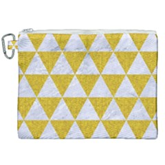 Triangle3 White Marble & Yellow Denim Canvas Cosmetic Bag (xxl) by trendistuff