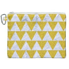Triangle2 White Marble & Yellow Denim Canvas Cosmetic Bag (xxl) by trendistuff