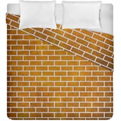 Brick1 White Marble & Yellow Grunge Duvet Cover Double Side (king Size) by trendistuff