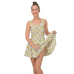 Woven2 White Marble & Yellow Denim (r) Inside Out Dress