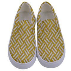 Woven2 White Marble & Yellow Denim Kids  Canvas Slip Ons