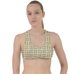 Woven1 White Marble & Yellow Denim (r) Criss Cross Racerback Sports Bra