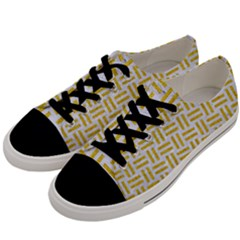 Woven1 White Marble & Yellow Denim (r) Men s Low Top Canvas Sneakers by trendistuff