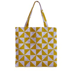Triangle1 White Marble & Yellow Denim Zipper Grocery Tote Bag by trendistuff