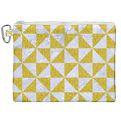 Triangle1 White Marble & Yellow Denim Canvas Cosmetic Bag (xxl) by trendistuff