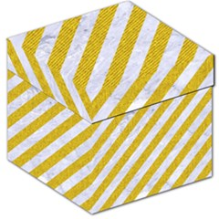 Stripes3 White Marble & Yellow Denim (r) Storage Stool 12   by trendistuff