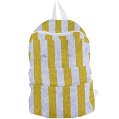 Stripes1 White Marble & Yellow Denim Foldable Lightweight Backpack by trendistuff