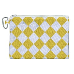 Square2 White Marble & Yellow Denim Canvas Cosmetic Bag (xl) by trendistuff