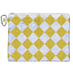 Square2 White Marble & Yellow Denim Canvas Cosmetic Bag (xxl) by trendistuff