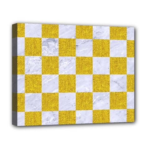 Square1 White Marble & Yellow Denim Deluxe Canvas 20  X 16   by trendistuff