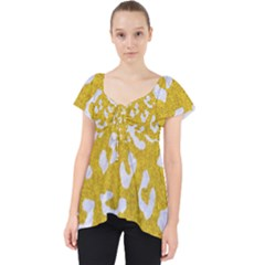 Skin5 White Marble & Yellow Denim (r) Lace Front Dolly Top