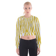 Skin4 White Marble & Yellow Denim (r)skin4 White Marble & Yellow Denim (r) Cropped Sweatshirt
