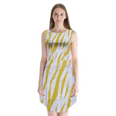 Skin3 White Marble & Yellow Denim (r) Sleeveless Chiffon Dress