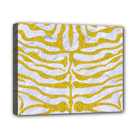 Skin2 White Marble & Yellow Denim (r) Canvas 10  X 8  by trendistuff