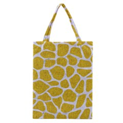 Skin1 White Marble & Yellow Denim (r) Classic Tote Bag by trendistuff
