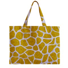 Skin1 White Marble & Yellow Denim (r) Zipper Mini Tote Bag by trendistuff